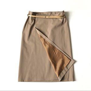 Burberry Prorsum Wool Beige Wrap Midi Skirt 44/10